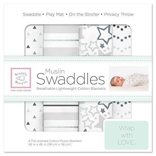 (SwaddleDesigns Cotton Muslin Swaddle Blankets, Set of 4, Sterling Starshine Shimmer (Parents' Picks Award Winner))