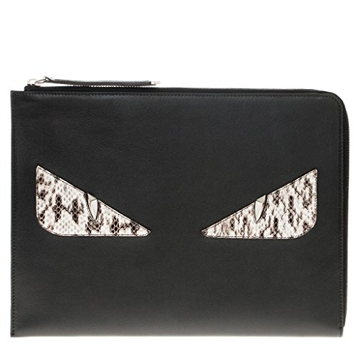 Fendi Women's Croc-Embossed 'Bag Bugs' Clutch Black Black