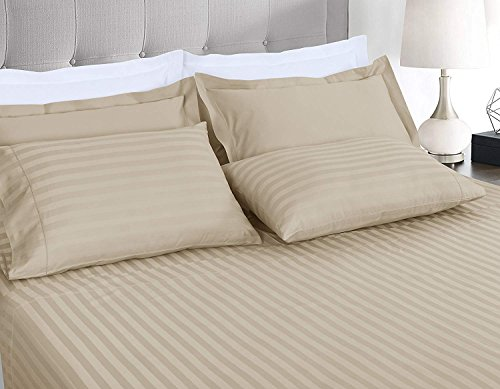 Noble Comfort Linen Italian Finish Long Staple 500 Thread Count 3 PCs Fitted Sheet Set6-10 inch Deep Pocket 100% Egyptian Cotton Stripe Pattern Size Twin Color Ivory ()