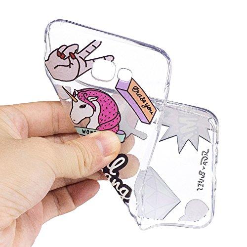 Samsung Galaxy J7 Prime Hülle, Hozor Niedlich Persönlichkeit Mode Serie Ultra Dünn TPU Bumper Case Kratzfest Backcover Schutzhülle Transparent Schale Flexible Weiche Silikonhülle Crystal Klar Handyhül Rote Lippen