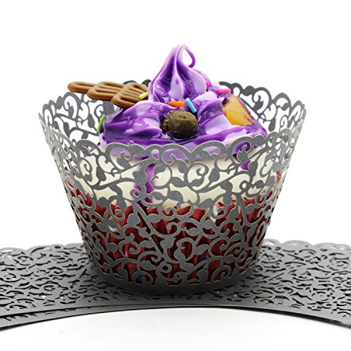 UNIQLED Filigree Artistic Bake Cake Paper Cups Little Vine Lace Laser Cut Liner Cupcake Wrappers Baking Cup Muffin Holder Case for Wedding Birthday Party Decoration (60, Silver)