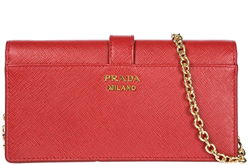 shoulder red women's iPhone cross body porta messenger leather bag Prada w6zqxXdz