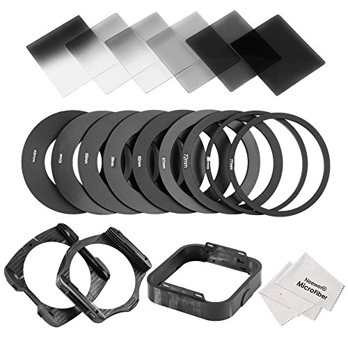 Neewer Square Lens Filter and Accessory Kit for Cokin P Series: 6 Full and Graduated ND2 ND4 ND8 Filters, 9 Adapter Rings(49-82mm), 1 Lens Hood, 2 Filter Holders, 1 Filter Carrying Pouch from Neewer