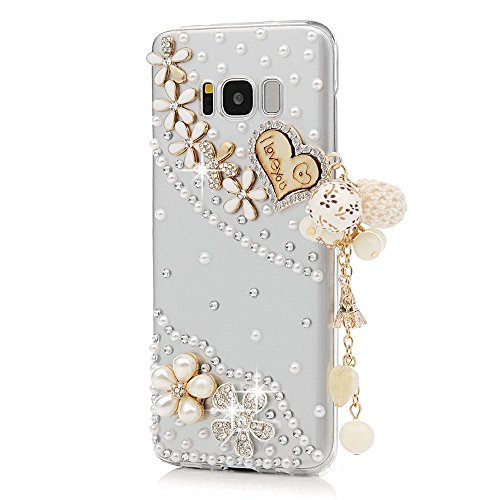 STENES Galaxy Note 8 Case - 3D Handmade Luxury Crystal Heart Pearl Pendant Flowers Floral Sparkle Rhinestone Design Cover Bling Case for Samsung Galaxy Note 8 Retro Bows Anti Dust Plug - Gold