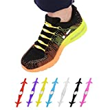 GBSELL 12Pcs Unisex No Tie Shoelaces Silicone Elastic Sneaker Lazy Shoe Laces (Purple)