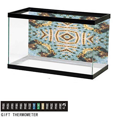 wwwhsl Aquarium Background,Hippie,Close Hippie Kaleidoscope Motif Maya Clan Figures Dirt Tones Counter Culture Print,Yellow Blue Fish Tank Backdrop 36