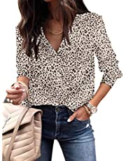ECOWISH Women's Fashion Leopard Print Shirts Long Sleeve V Neck Button Down Lightweight Relaxed-Fit Tops Tunic Blouses 376 Pink XX-Large
