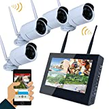 iRULU Wireless Security Camera System 960P 10'' TFT HD Monitor 4 Channel 1.3 Megapixel Day Night Vision No Hard Drive for Home Outdoor and Indoor DVR Video Monitoring