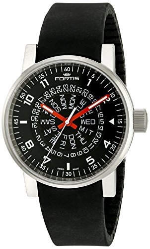 Fortis Men's 623.10.51 SI.01 Spacematic Classic Black-Red Analog Display Automatic Self Wind Black Watch