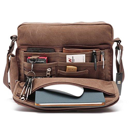 Mlife Men Canvas Messenger Bag (Brown)