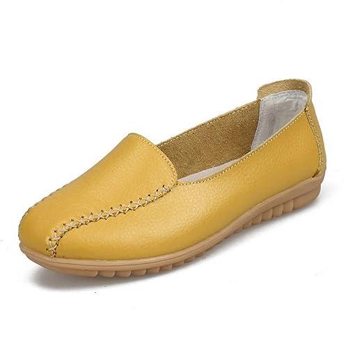 Mujer Pisos Plataforma Zapatos Casuales Costura de Cuero Suave Cerdo Split Deslizamiento Plano En Mujer Barco Señoras Mocasines Calzado: Amazon.es: Zapatos ...