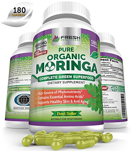 Organic Moringa 180 Capsules – 100% Pure Leaf Powder - Max 1000mg Per Serving - Complete Green Superfood Supplement - Full 3 Month Supply - Miracle Tree Organic Certified Moringa Oleifera Vegan Caps