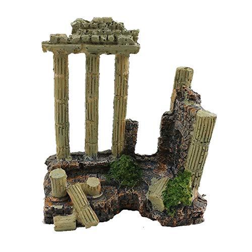 (EHC Resin Solid Vintage Roman Column Aquarium Decorations Fish Tank Rock Ruins Plants Decor Aquarium Decoration Ornaments)