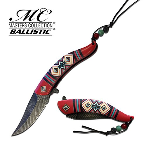 8.5 Native American Indian Spring Assisted Open Pocket Knife Damascus RED FEATHER – Firefighter Rescue Pocket Knife – Hunting Knives, Military Surplus – Survival and Camping Gear