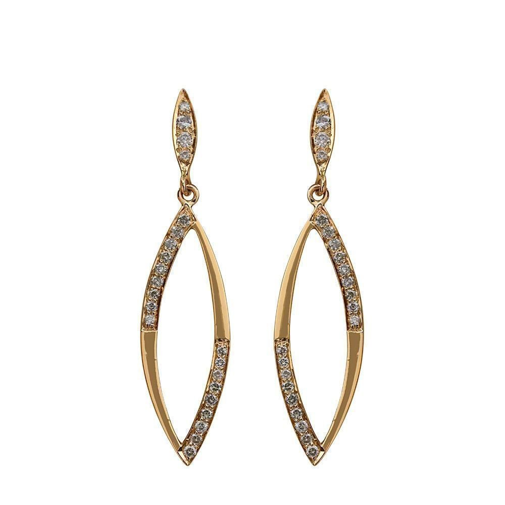 ''Pave Natural Diamond Solid 14k Yellow Gold Dangle Earrings Vintage Style Jewelry ''
