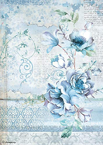 Stamperia Rice Paper Sheet A4-blue Land Flower]()