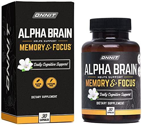 ONNIT Alpha Brain (30ct) – Premium Nootropic Brain Supplement – Focus, Concentration & Memory – Alpha GPC, L Theanine…