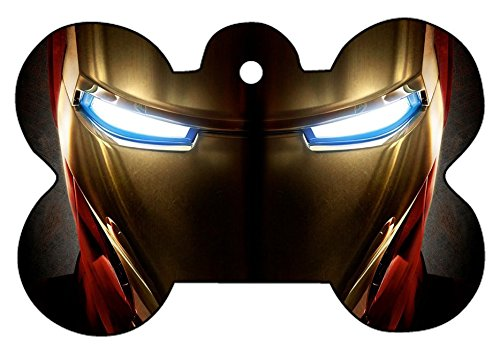 Iron Man War Machine Art Dog Pet Cat ID Tag Bone Shape Image PhotoPersonalized with Key Ring - Face Pictures Shapes