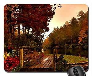 river in autumn Mouse Pad, Mousepad (Rainbows Mouse Pad, Watercolor style)