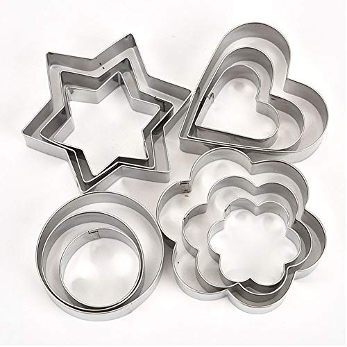 (Mini Cookie Cutter Set -12 Pieces Metal Biscuit Fondant Cutters for Spring & Easter, Halloween,)