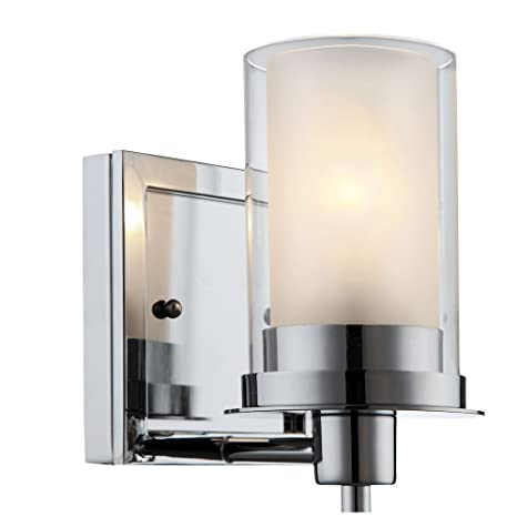 Designers Impressions Juno Polished Chrome 1 Light Wall Sconce / Bathroom Fixture with Clear and Frosted  sc 1 st  Amazon.com & Designers Impressions Juno Polished Chrome 1 Light Wall Sconce ...
