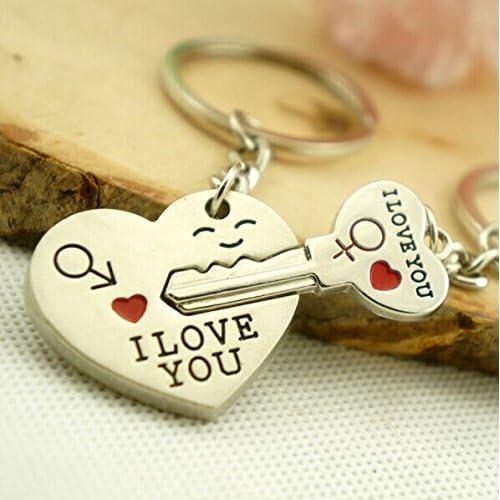 SAMGU Accessoires Key en acier inoxydable à Cupidon Keychain de coeur porte-clés Ensemble pour des amoureux de couples