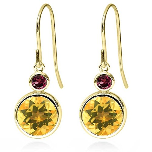Gem Stone King 3.54 Ct Round Yellow Citrine Red Rhodolite Garnet 14K Yellow Gold Earrings