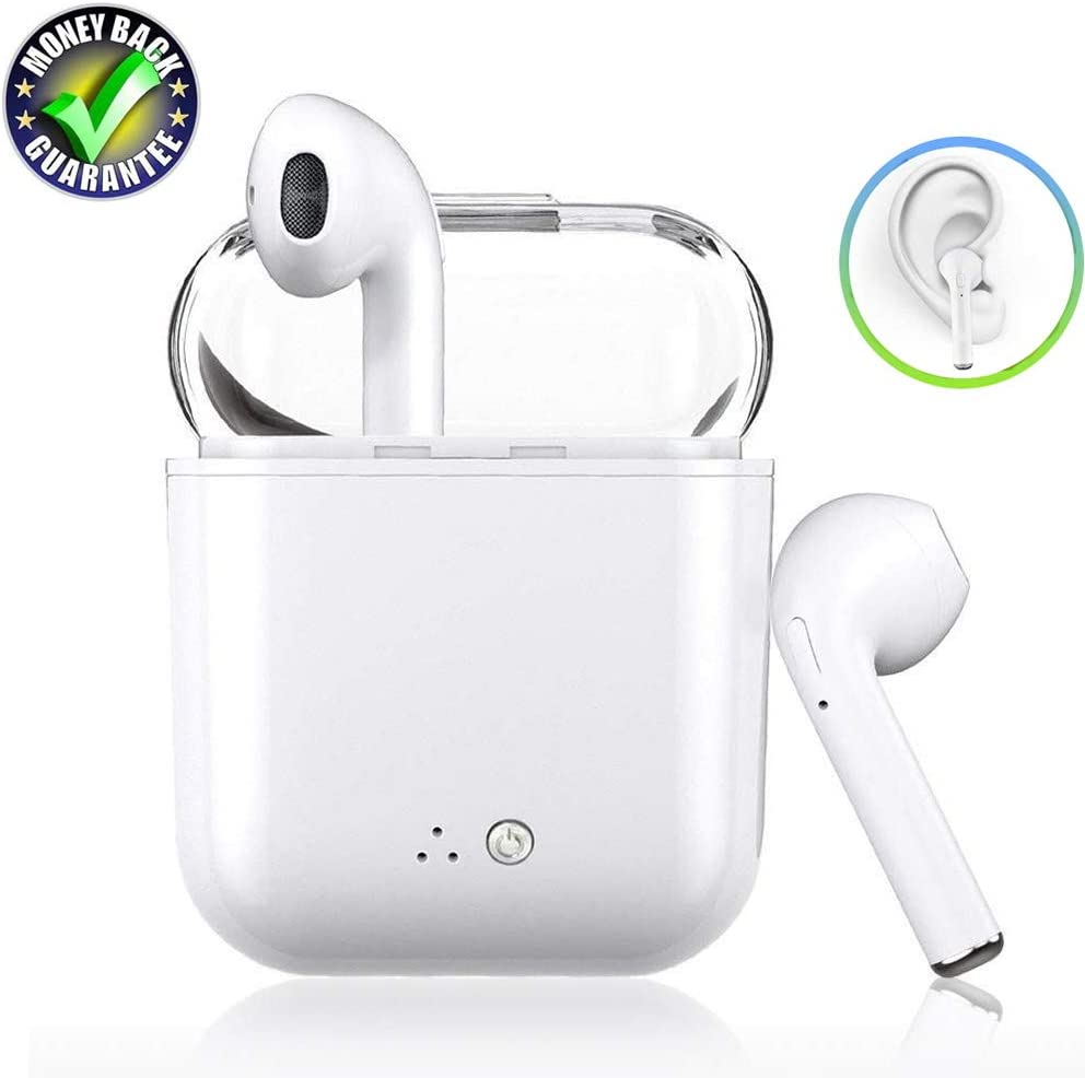 Wireless Earbuds Bluetooth Headsets Mini with Built-in Mic Noise Cancelling Headphones Sweatproof Stereo Earphone and Charging Case for iPhone Airpods Android Samsung Huawei