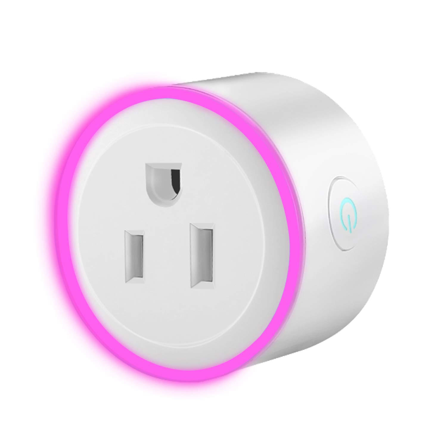 WiFi Smart Mini Plug Socket, Cxy Smart Phone and Voice Controlled Timer Switch with RGB Light Ring for Household Appliances, No Need Hub, Works with Amazon Echo and Google Assistant.(1 Pack)