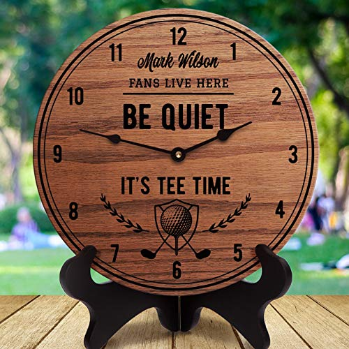 AndCo 12 Inch Wood Clock, Mark Wilson Fan Gift Be Quiet It's Tee Time PGA Golfer Gift for Golfer Pro Golfer Golf Decor Golf Ball Clubs Golf Course, Clock Only, Wall Clock