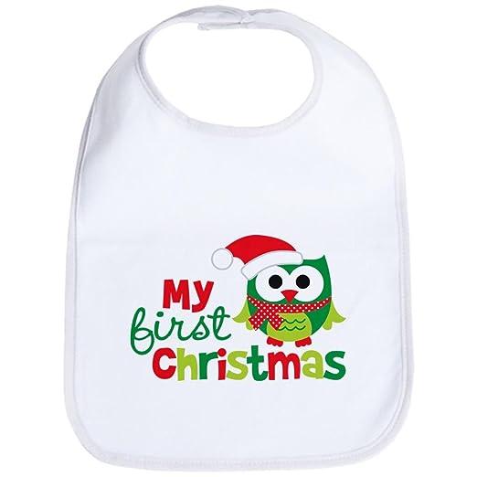 c7e43e153 Amazon.com: CafePress - My First Christmas Owl Bib - Cute Cloth Baby Bib,  Toddler Bib: Clothing