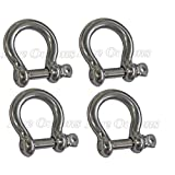 """Set of 4: Chain Rigging Bow Shackle for Boat 5/16"""" –Stainless Steel Bow Type (BC 0426)"""