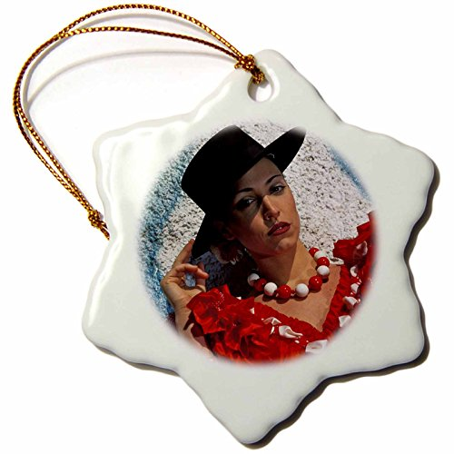 3dRose orn_10663_1 Seville, Spain Model Released Photo of a Andalusian Woman Dress, Snowflake Ornament, Porcelain, 3-Inch by 3dRose