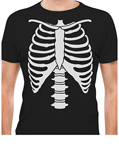 Rib Cage Tee (Tstars Halloween Skeleton Rib Cage Xray Front and Back Print Easy Costume T-Shirt)