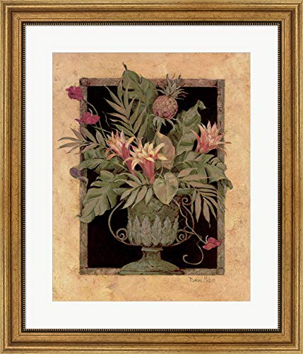(Framed Tropical Arrangement II by Barbara Mock Framed Art Print Wall Picture, Wide Gold Frame, 24 x 28 inches)