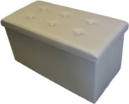 Passion Pouf Deluxe Sofa Contenitore in Pelle Sintetica 38X38 CM Beige