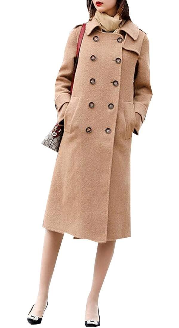 1 Esast Women's Cotton Double Breasted Trench Coat Chelsea Pea Coat Overcoat