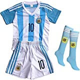 Wild Bunch New Argentina Home Messi #10 Soccer Football Jersey Sportswear Team Polo Shirt & Short & Sock for 3-14 Years Kids (5-6 YEARS)