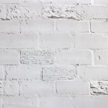 "HaokHome H009 Faux Brick Peel and Stick Wallpaper 23.6"" x 19.7ft Off White Self Adhesive Contact Wall Decoration"