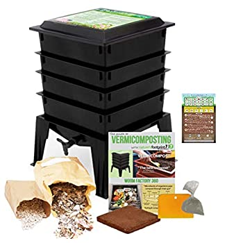 Image of Home and Kitchen Worm Factory 360 Worm Composting Bin + Bonus What Can Red Wigglers Eat? Infographic Refrigerator Magnet (Black) - Vermicomposting Container System - Live Worm Farm Starter Kit for Kids & Adults