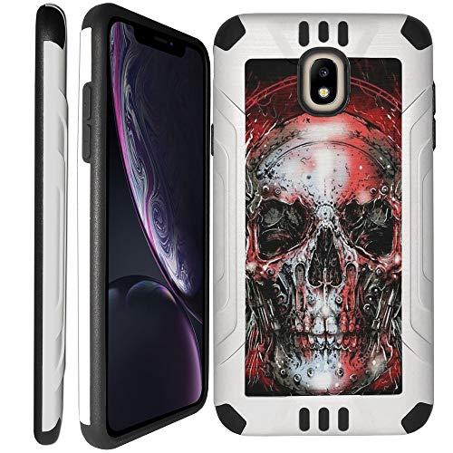 - CasesOnDeck Case for Samsung Galaxy J7 (2018), J7 Crown, J7 Top, J7 Refine, J7 Aero, J7 Aura, J7 Star - Tough Hybrid Case Interior TPU/Exterior Brushed Metal Finish (Red Skull)