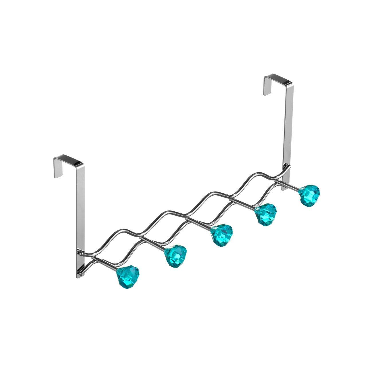 Over Door Hanger Chrome Teal Diamantes Made Of Steel 5 Hooks