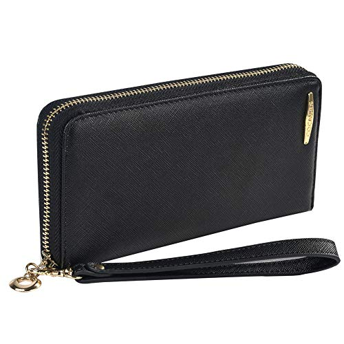 Clutch Wallet, COCASES RFID Protection Women PU Leather Credit Card Holder Coin Pocket Large Capacity Zipper Purse Wrist Strap (Black)