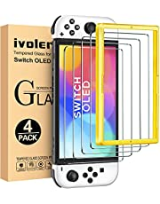 [4 Pack] iVoler Tempered Glass Screen Protector for Nintendo Switch OLED Model 2021 with [Alignment Frame], Anti-Scratch Bubble Free Transparent HD Clear Film for Nintendo Switch OLED 7 inch