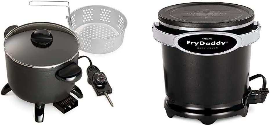 Presto 06006 Kitchen Kettle Multi-Cooker/Steamer & 05420 FryDaddy Electric Deep Fryer,Black
