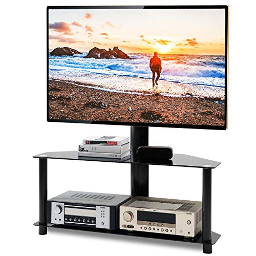 5Rcom Floor TV Stand with Swivel Mount and Height Adjustable for 32 37 40 42 47 50 55 60 65 inch Vizio/Samsung/TCL/LG Flat Panel and Curved Screen TVs, 2 Tier Tempered Glass Shelves for Media Storage (Flat Panel Tv Stand With Swivel Mount)