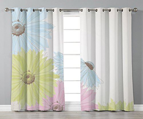 Satin Grommet Window Curtains,Pastel,Gerbera Daisies Chamomiles in Different Colors Spring Season Garden Decorative,Pale Green Aqua Light Blue,2 Panel Set Window Drapes,for Living Room Bedroom Kitchen from iPrint