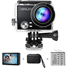 Action Camera 4K 30fps WiFi Waterproof Sports Camcorder 16MP Panasonic Sensor HiSilicon 170°Wide View Angle with 2 Rechargeable 1200mAh Batteries Mounting Accessories Kits