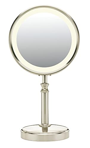 Conair Reflections Double-Sided Fluorescent Lighted Vanity Makeup Mirror, 1x 10x magnification, Satin Nickel