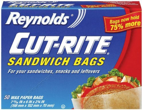 Reynolds Cut-Rite Wax Paper Sandwich Bags, 50 Count (Pack of 1) (Sandwich Paper Bags)